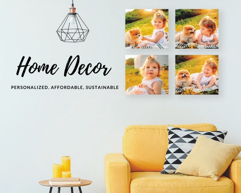 FunDeco Home Decor banner, photo of canvas prints in livingroom
