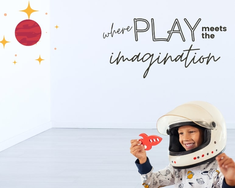 FunDeco banner - where play meets imagination - kid dressed as astronaut playing