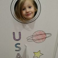 FunDeco Rocketship, little girl playing