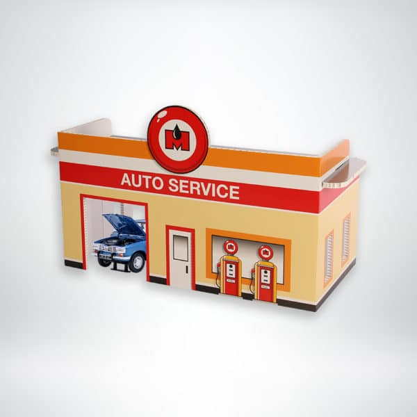 FunDeco Village Playsets Auto Garage side view with toy car