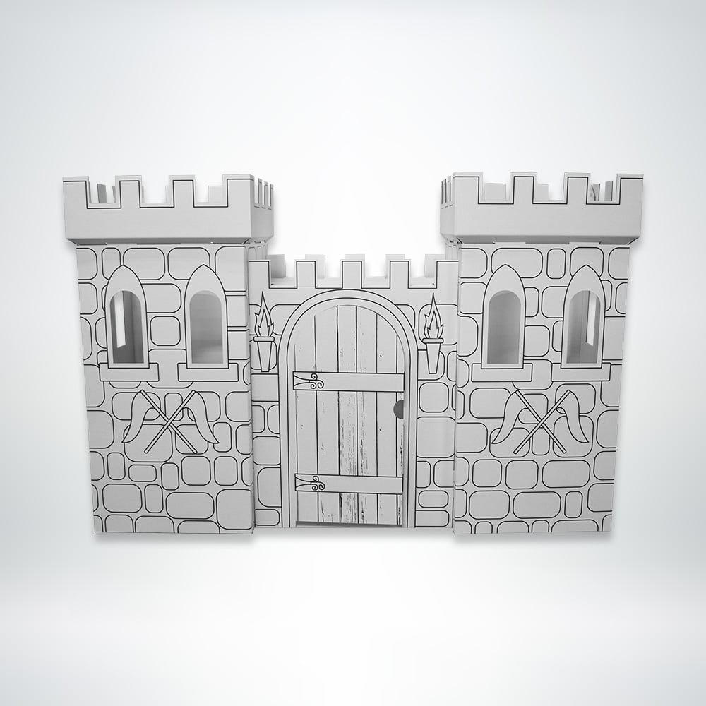FunDeco Castle Playhouse black and white front